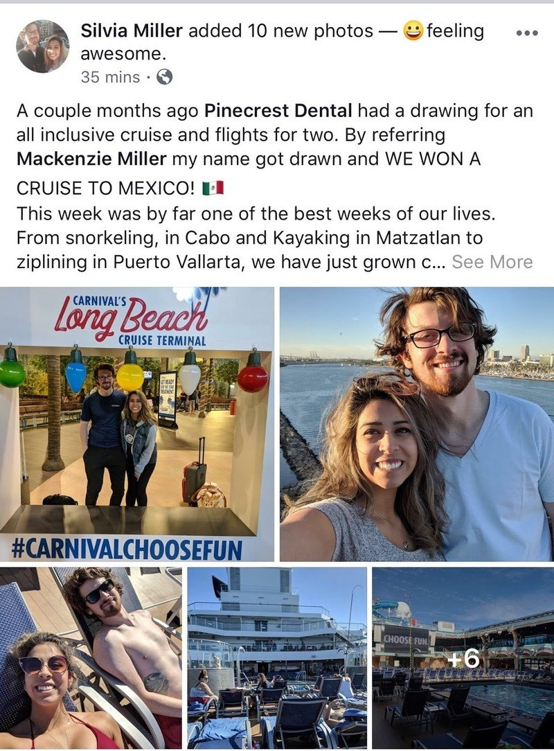 Silvia won a cruise to Mexico